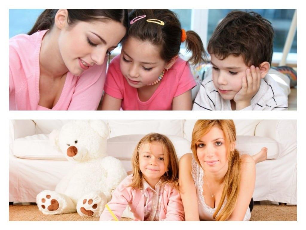 niñeras y cuidadoras de niños haciéndose cargo de ellos