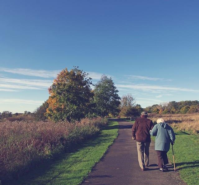 ancianos dando un paseo. Una caminata es uno de los ejercicios más recomendados por los fisioterapeutas, aunque también existen otros tipos de fisioterapia en casa.