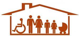 dibujo de una casa con sus habitantes. Adaptación de viviendas. Subvenciones de la Generalitat Valenciana.