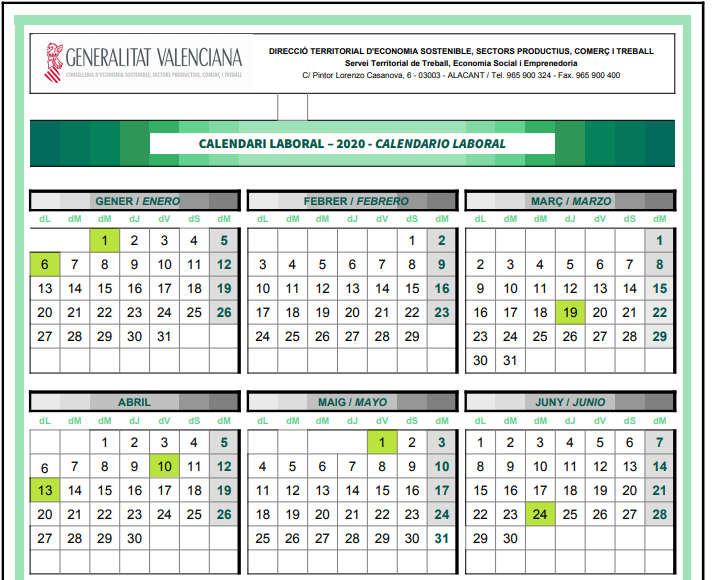calendario laboral 2020 valencia, alicante y castellon
