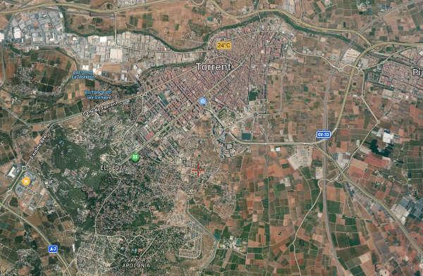 Mapa de Torrente, con El Vedat, Santa apolonia y Sierra Perenchiza